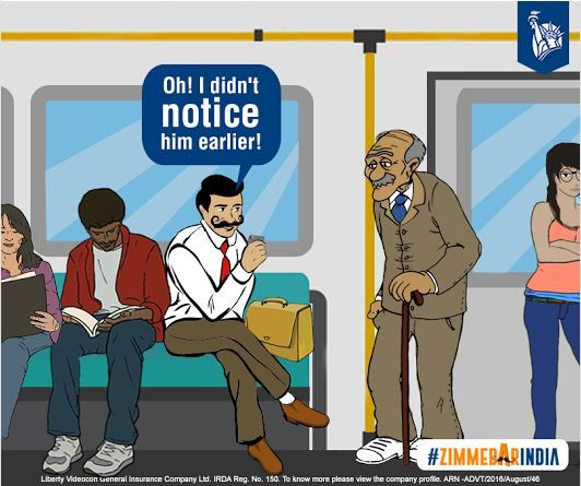 The businessman immediately moves his bag, offering the seat to the elderly man! #ZimmedarIndia #libertyvideocon