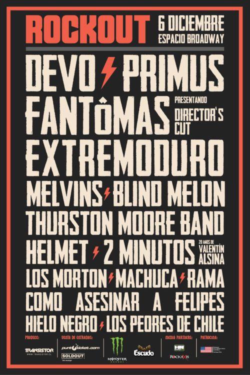 @Rockout_Fest: ANUNCIO FINAL > EXTREMODURO, BLIND MELON, MELVINS, HELMET, 2 MINUTOS Y LOS MORTON.  +info : elbeso.cl