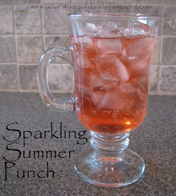 Sparkling Summer Punch:  You only need 2 ingredients: Ginger Ale, and fruit tea bags   (Today I used peach tea, but we have tried it with raspberry tea, and berry zinger tea and loved all the flavors)