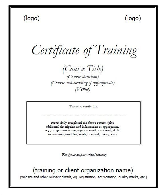 certificate of training template free free training certificate