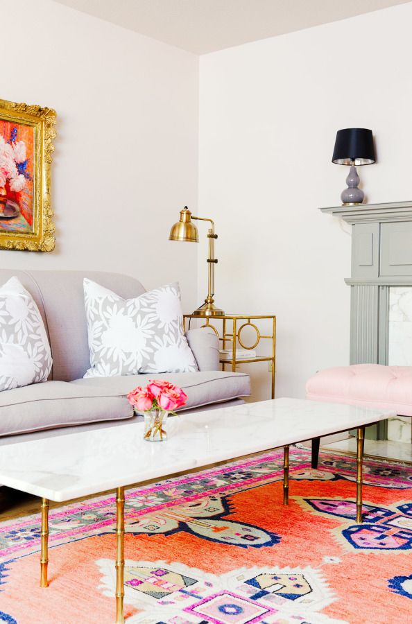 Flirty and feminine living room: http://www.stylemepretty.com/living/2015/08/12/textile-designer-caitlin-wilsons-colorful-happy-home-tour/   Photography: Elijah Hoffman - http://elijahhoffman.com/