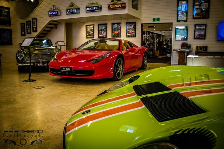 Gorgeous shot of the Ferrari and Twiggy's Miura. Photo by Shepherd Event Photography.