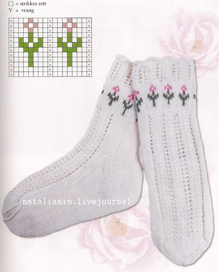 """#Knitting_Pattern -- """"Very pretty Fair Isle pattern for the tops of socks. The link doesn't have a pattern for the socks, but you can add the flowered tops to your own socks."""" Enjoy from #KnittingGuru ** http://www.KnittingGuruDesigns.blogspot.com"""