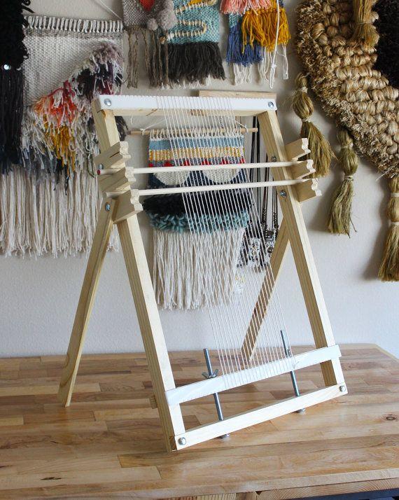 Hecho a mano tejido telar de madera grande con mallas