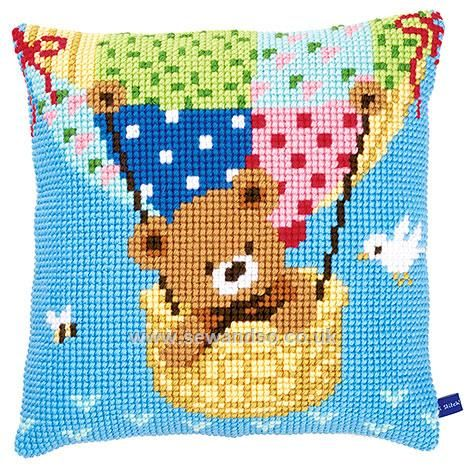 Bear in a Hot Air Balloon Cushion Front Chunky Cross Stitch Kit