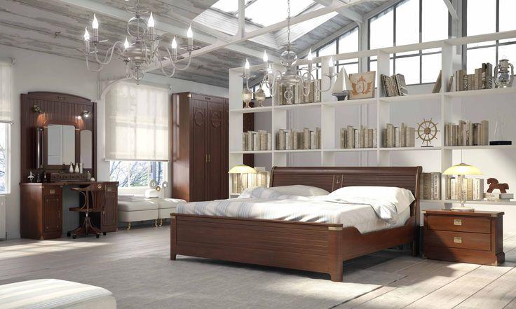 Dormitorio de la colección camarote. Esta colección está inspirada en el mobiliario náutico, para los amantes del mar y del bonito estilo clásico.