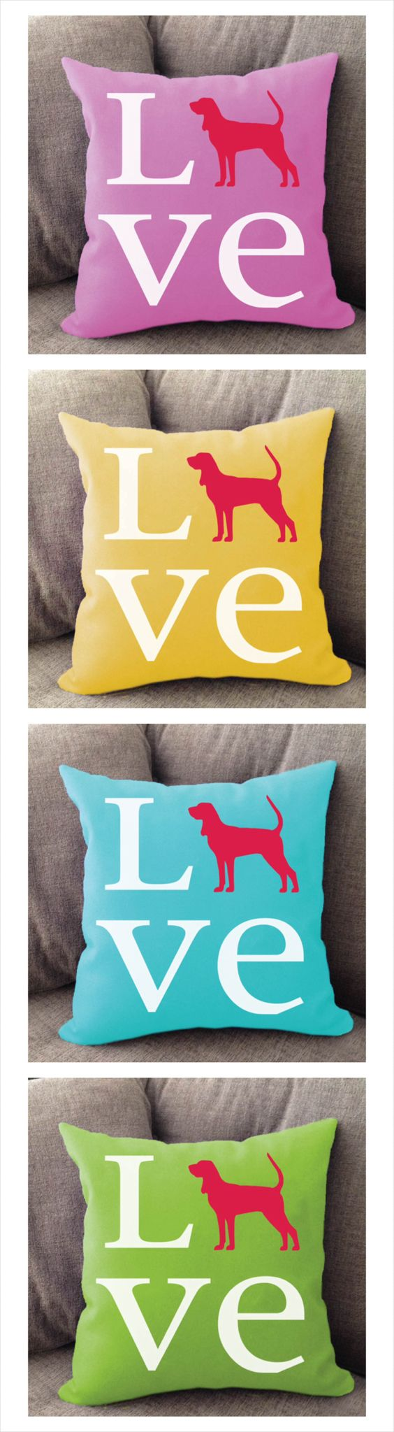Coonhound Love pillow. Offered in multiple colors and 50+ dog breeds. Cover is machine washable and Made in USA.