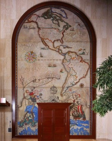Peace, Commerce, Prosperity (map of North and South America)  1923  Oil on canvas, 317 x 190 in. (805.1 x 482.5 cm)  Peabody Essex Museum  Gift of The First National Bank of Boston, 1982 - Mural, First National Bank of Boston, at 67 Milk Street location
