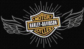 Harley Davidson wings logo embroidery design. Machine embroidery design. www.embroideres.com