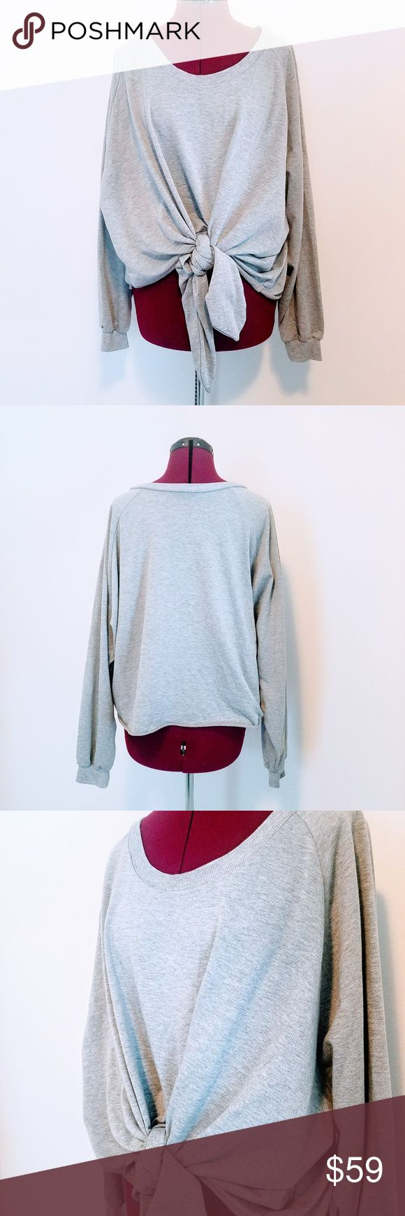 NUDE Brand Women's Gray Tie Front Sweatshirt NUDE Brand Women's Gray Tie Front Sweatshirt Size LARGE  Roomy, comfy, perfect for gym or casual wear. NUDE Tops Sweatshirts & Hoodies
