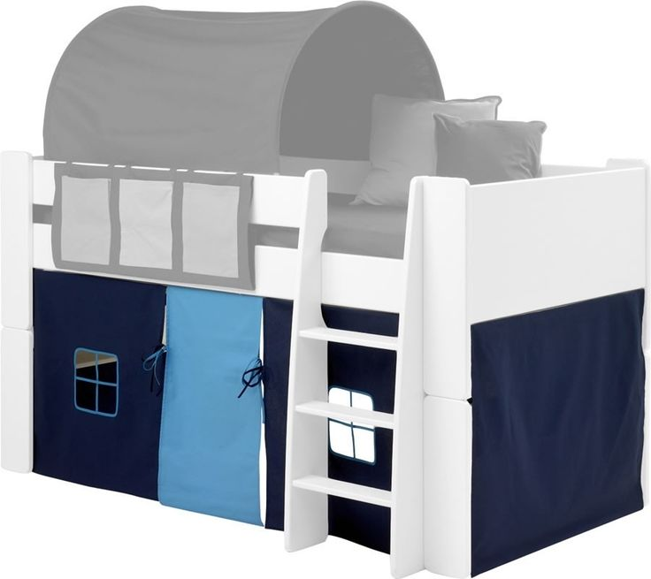 Steens For Kids Mid Sleeper Tent in Dark and Light Blue - The Steens For Kids under bed mid sleeper play tent in dark blue and light blue material offers hidden play space for your child. Designed to fit the Steens children's mid sleeper bed range with or without a slide. At the front of the play tent you will find two square windows and one centre positioned light blue door.