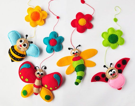 IKO Plush Insects Baby Mobile  Crib Mobile  Nursery by IkoIkoToys, $93.00
