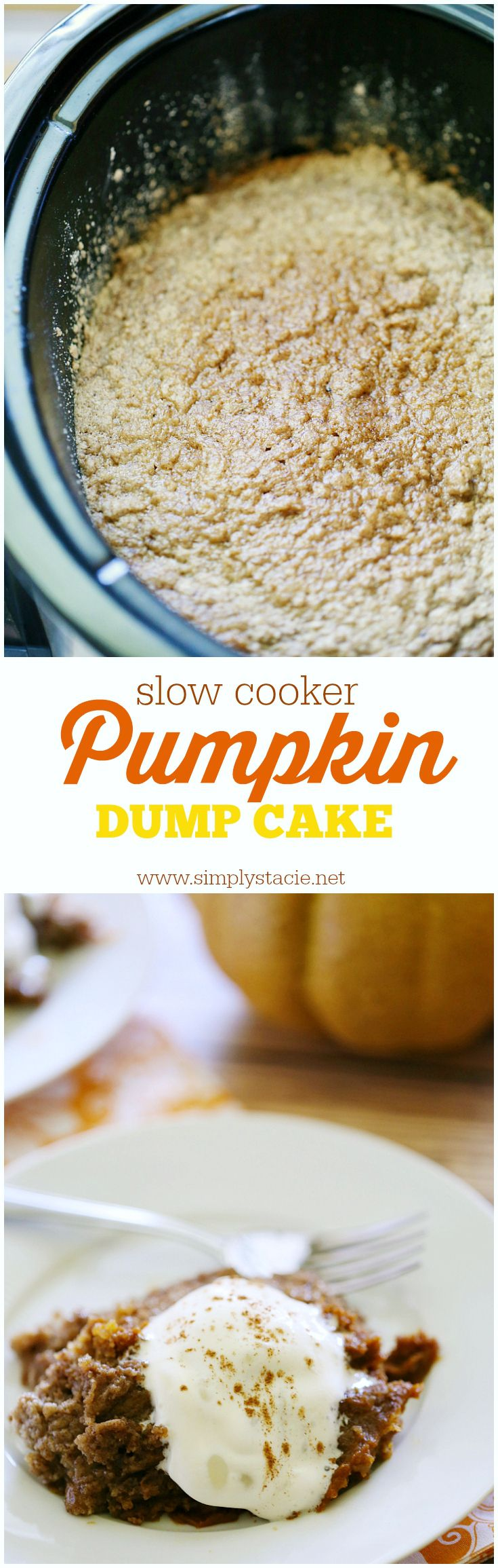 Slow Cooker Pumpkin Dump Cake - The name is a little weird, but don't let it scare you off. This Slow Cooker Pumpkin Dump Cake is an easy fall dessert with only a few ingredients!