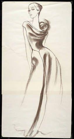 Artists/Makers Lopez, Antonio, 1943-1987 (artist) James, Charles, 1906-1978 (designer) Title Drawing: Evening dress with rose on left shoulder