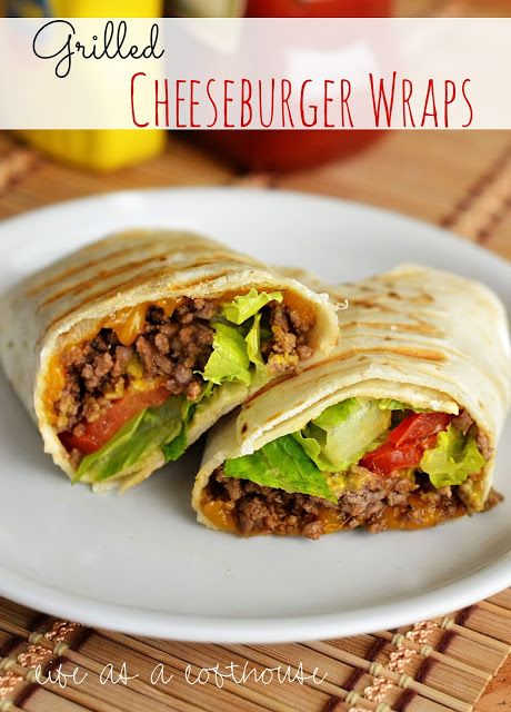 Grilled Cheeseburger Wraps  1 pound lean ground beef 1 Tablespoon Worcestershire sauce 2 Tablespoons ketchup 1 teaspoon dried minced onion pepper and salt, to taste 5 large flour tortillas shredded cheddar cheese mustard tomato slices lettuce