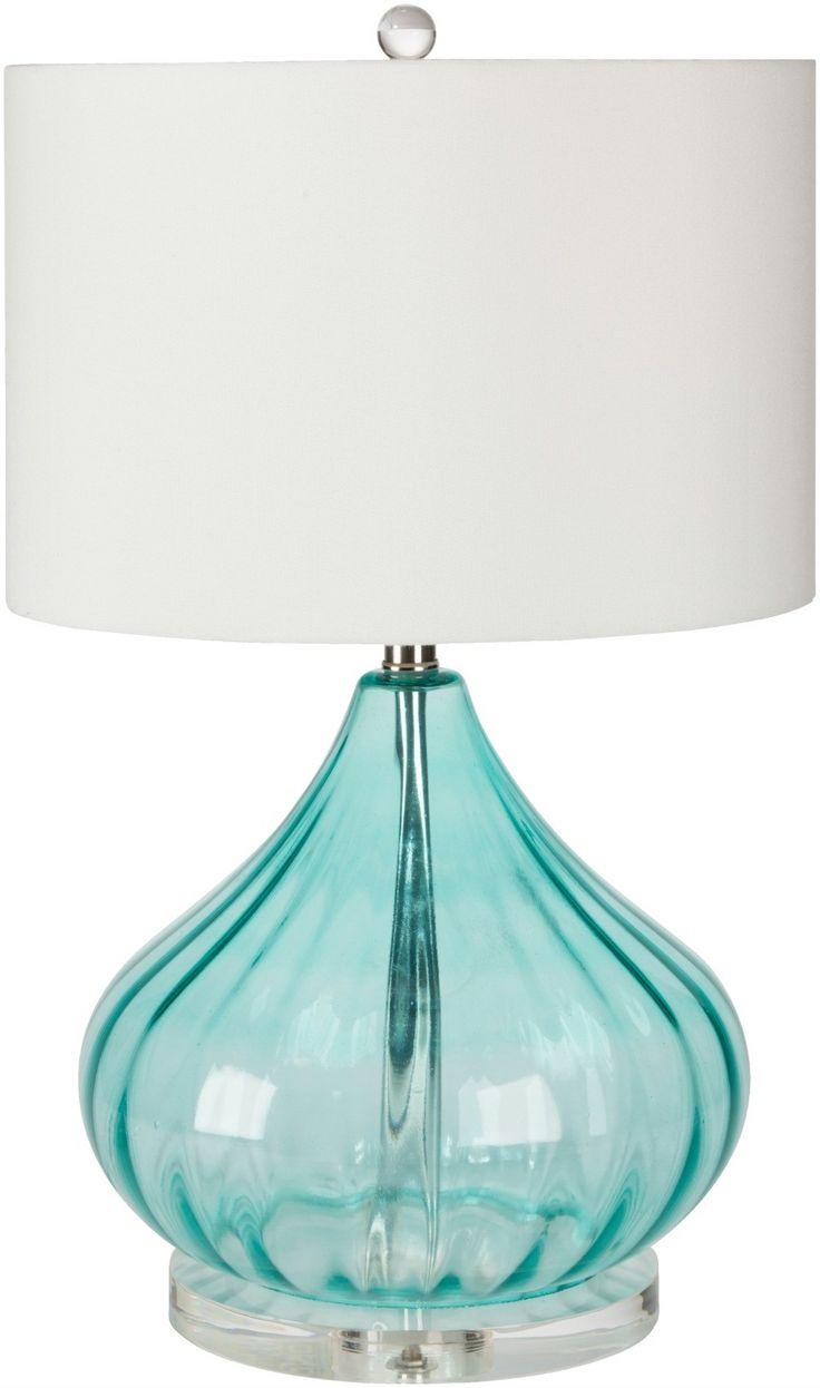 "Atlantis Aqua Glass Lamp - ""subtle"" coastal accent in your beach home. Love the waterside color!"