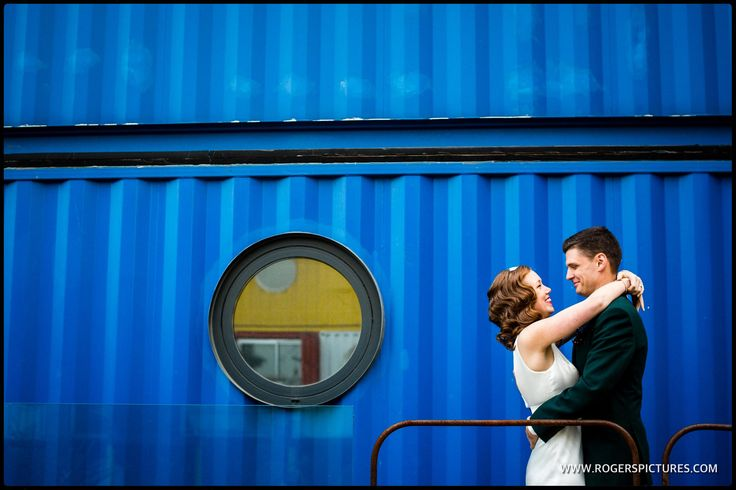 Great backgrounds for a wedding portrait at Container City -