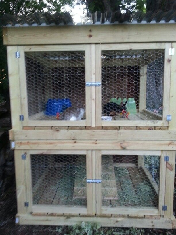 Diy two story rabbit hutch plans woodworking projects for Rabbit hutch designs