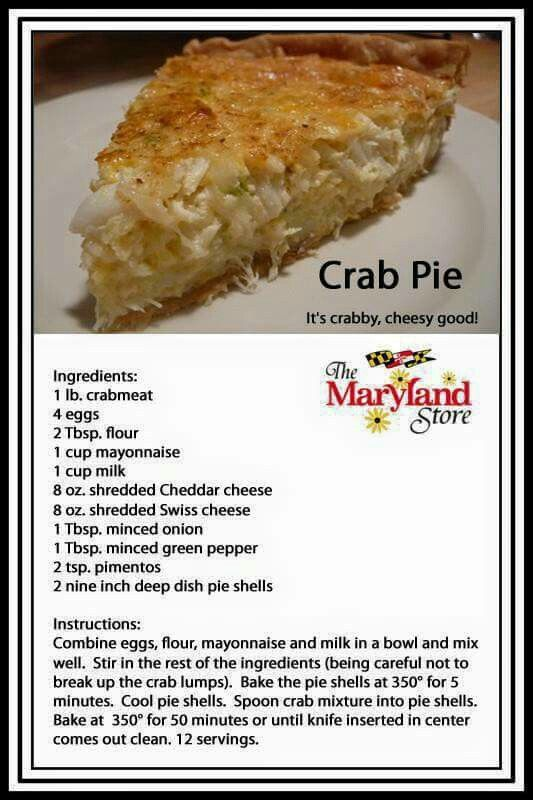 Crab Pie..shared by the MD store and CBMM #seafoodrecipes