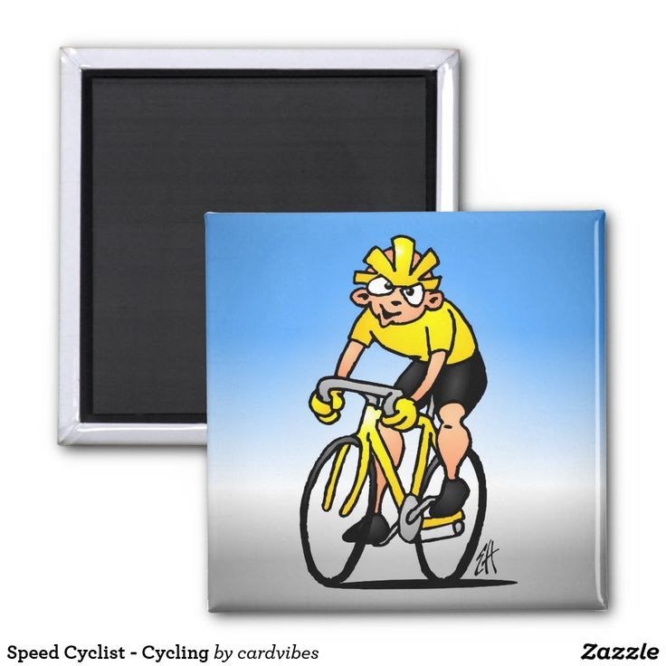 Speed Cyclist - Cycling Magnet. #cycling #magnets #cyclist #Zazzle #Cardvibes #Tekenaartje #SOLD #gifts #giftideas #giftsforhim