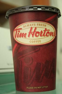 Tim Horton's Coffee...simply the best. <3 We create a custom sticker with your names and wedding date and serve Tim Horton's coffee at the reception in your custom Tim Horton's coffee cups?