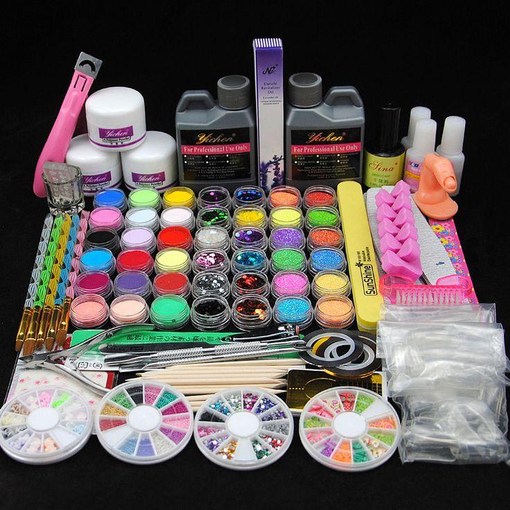 Hot Acrylic Nail Art Set Glitter Powder Primer Remover Cleanser Liquid Tips Kit #Unbranded