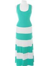 Plus Size Stripe Colorblock Teal Maxi Dress, Plus Size Clothing, Club Wear, Dresses, Tops, Sexy Trendy Plus Size Women Clothes $45