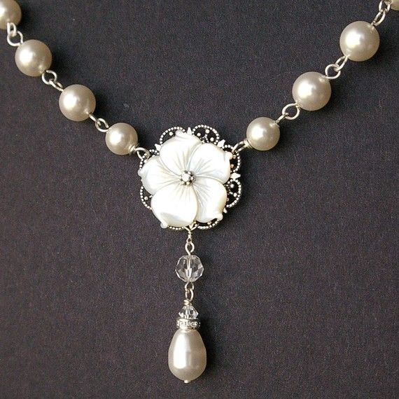 Mother of Pearl Bridal Necklace Pearl Wedding by luxedeluxe, $82.00