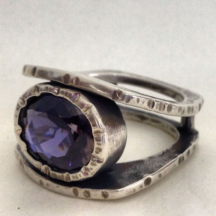 Ring For a lovely lady. Sterling and iolite by Ginger Meek Allen, Wake Forest, North Carolina, USA
