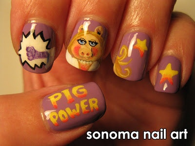 My Miss Piggy nails for an OPI Muppets contest. I love these so much!