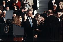 Bill Clinton takes the oath of office during his 1993 inauguration on January 20, 1993. (We were standing waaaaaaay back to his far right.)