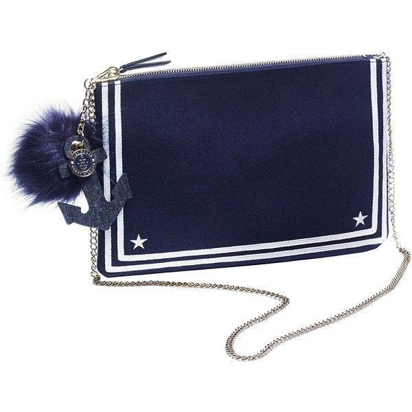 Tommy Hilfiger Nautical Pouch Bag ($22) ❤ liked on Polyvore featuring bags, handbags, pouch bag, tommy hilfiger purses, blue bag, nautical bag and pouch handbags