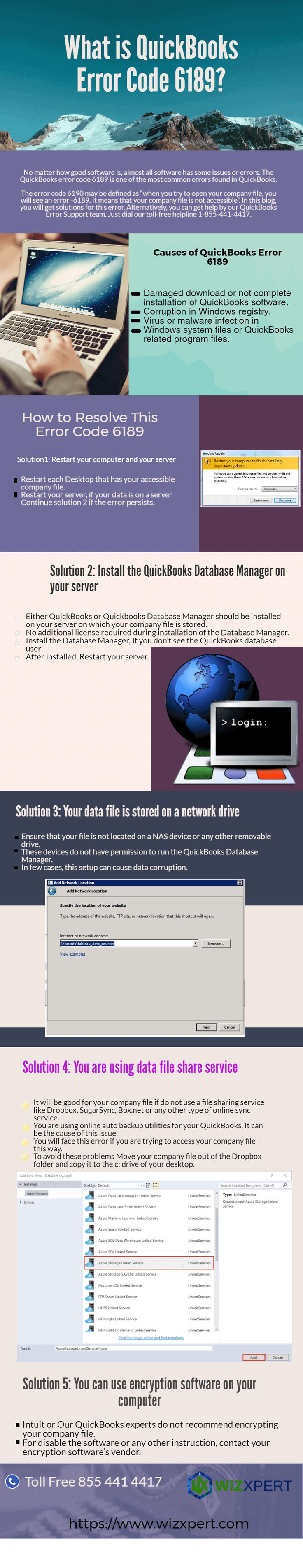 Error 6189 usually occurs when trying to open the company file (.qbw) that is stored in a folder that is on the same computer that runs QB Data server i.e. single user configuration on the computer hosting the company file in a multi user configuration. For more information visit https://www.wizxpert.com/infographics/quickbooks-error-code-6189/