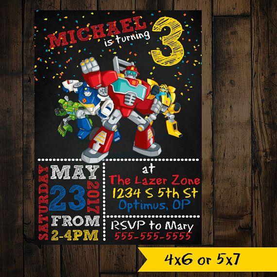 Sauvetage Bots Invitation - transformateur sauvetage Bots - Invitation d'anniversaire de sauvetage Bots - sauvetage Bots anniversaire - sauvetage Bots invite
