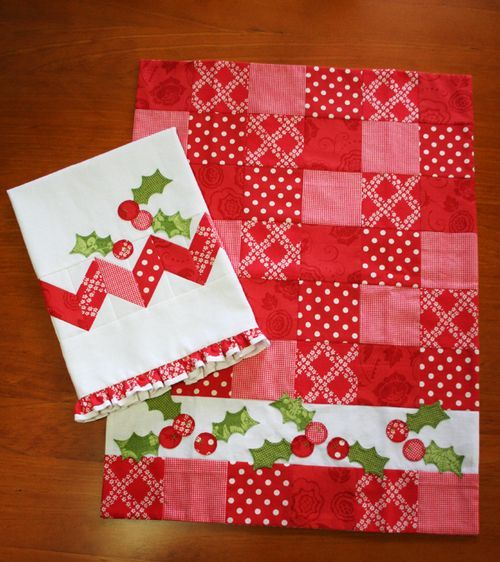 Patchwork placemat, Maybe Ornaments instead of Holly