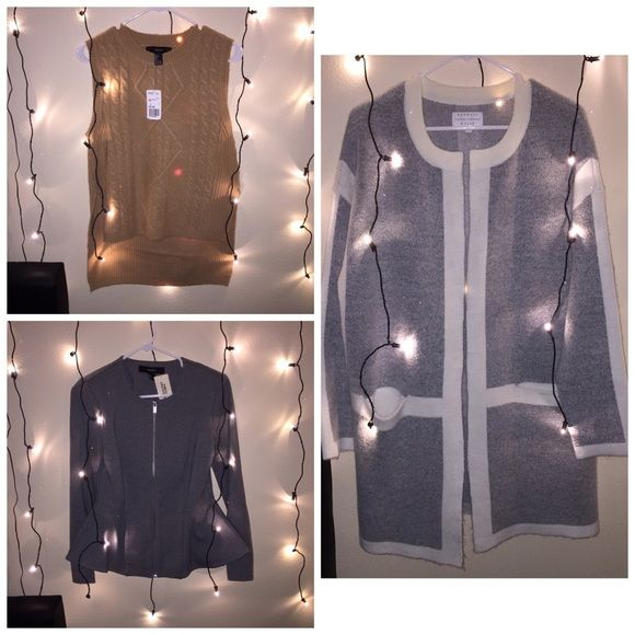 BUNDLE camel vest peplum jacket round neck cardi ALL brand new ! Dressy or casual, kendal and kylie + forever 21. Not zara Zara Sweaters