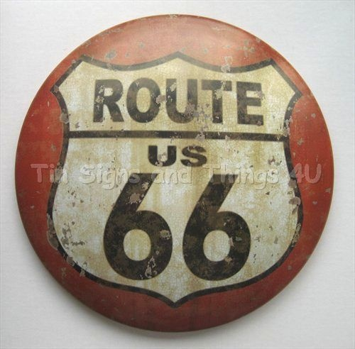 Route 66 Round Dome Tin Sign Rustic Vtg Metal Wall Decor