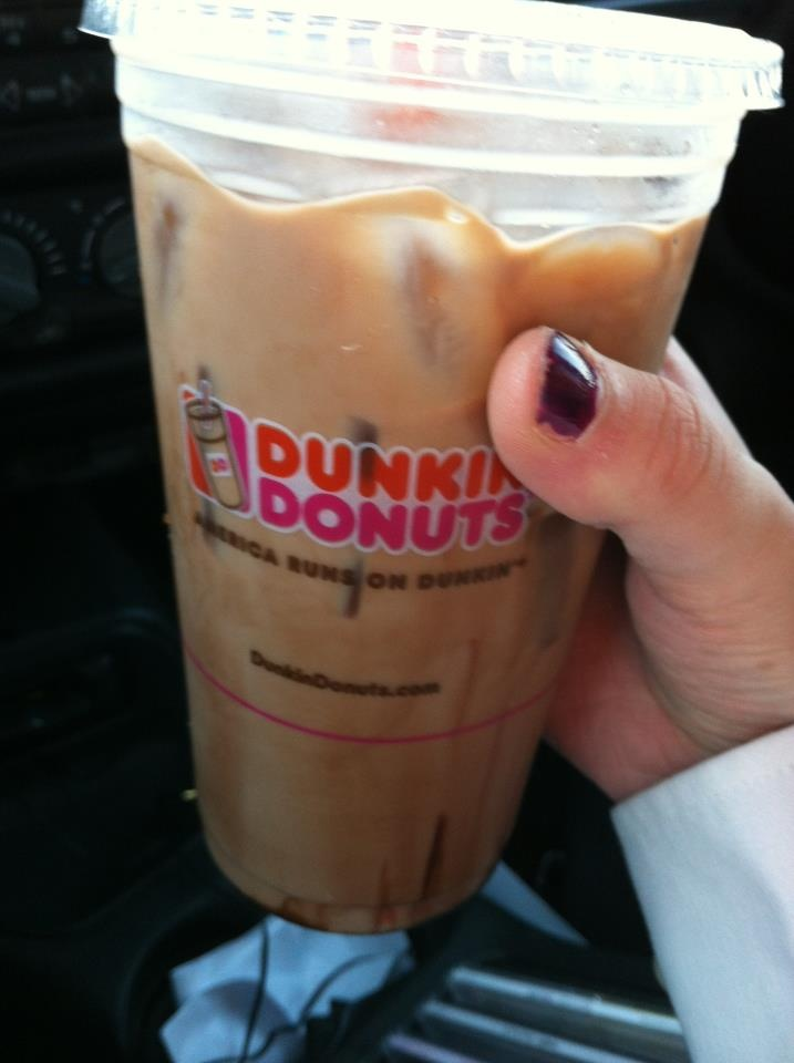 iced mocha latte with whip cream and sugar from dunkin donuts :)