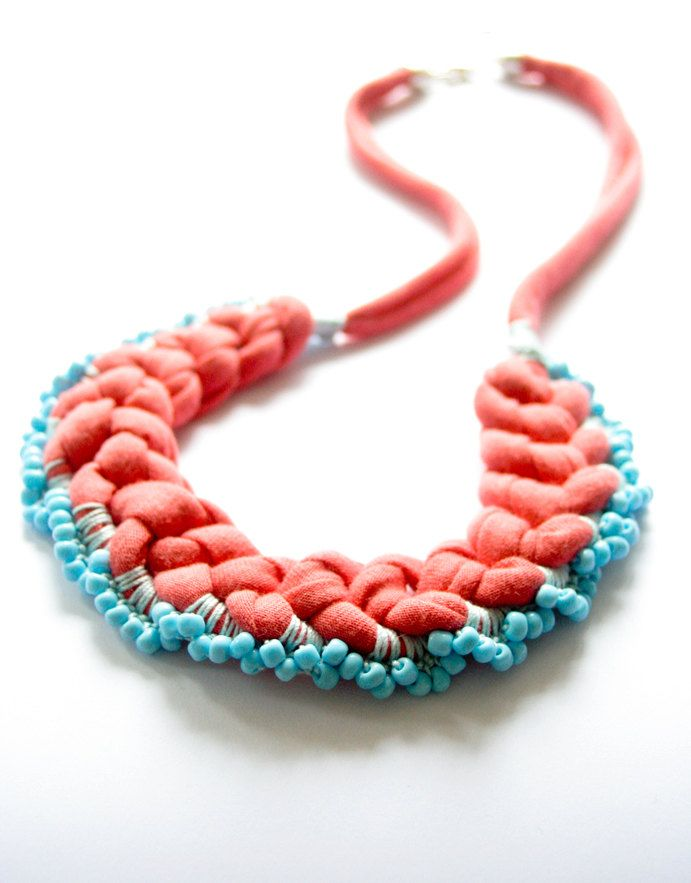 necklace frosted coral crochet beaded tangerine light blue. €49,00, via Etsy.