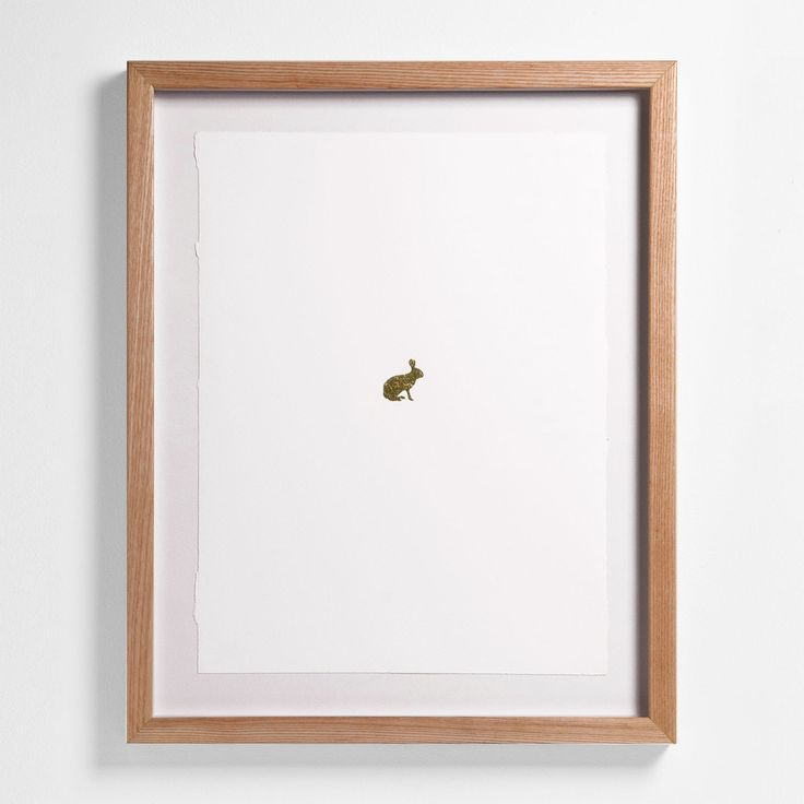 "Hare: 20"" H x 16"" W Floated and Dry Mounted - Gold Leaf Foil on Fine Art Paper, Torn Edges  Natural - Wood Ash Frame #artsquaredinc #art #design #gold  #goldleaf #Artimals #animalart #Canadiana #GreatNorth #hare #rabbit"