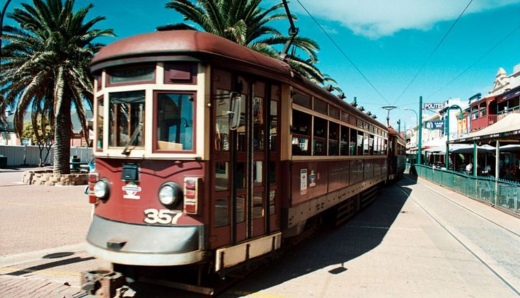 The red rattler tram to Glenelg in Adelaide, South Australia • Adelaide's icons. This is the BEST way to go to see Glenelg Beach and sit for a coffee.