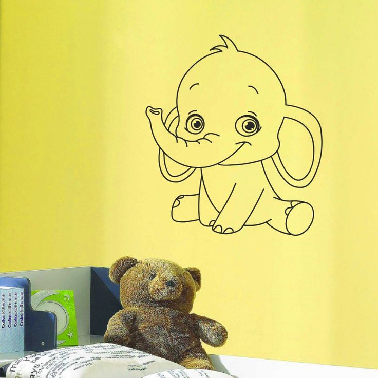 Wall decal vinyl sticker cartoon funny elephant baby room for Funny elephant wall decals for nursery