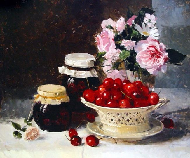 Creamware Basket of Cherries and Preserves (651x541, 359Kb)