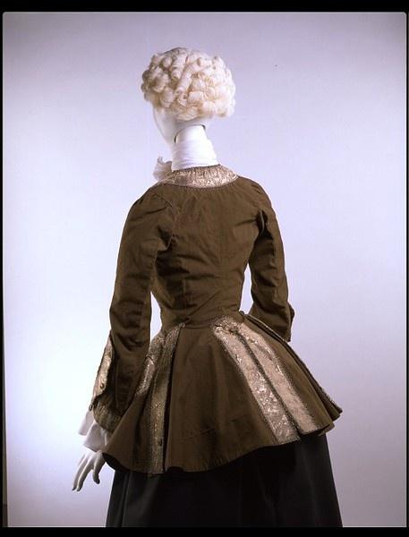 Riding habit jacket   ca. 1750-1759   British   Woven wool, silk lining and metal braid; handsewn (back view)