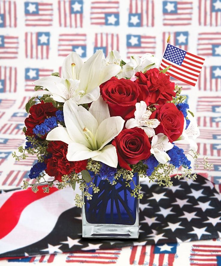 Red, white and blue flowers for the 4th of July! This patriotic arrangement is such a stunning way to honor the courage, the character, the people and the places in this country we call home.