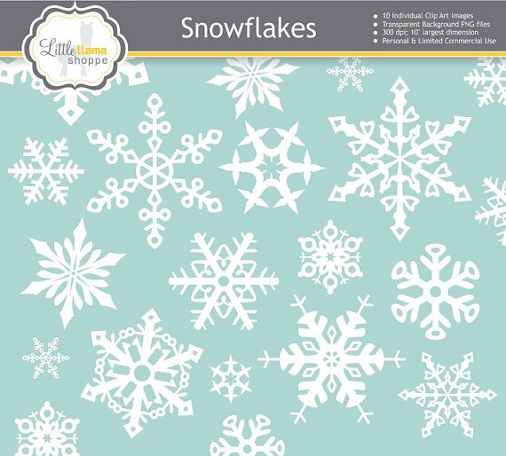 Snowflake Clip Art, Snowflake Images, Snowflake PNGs with Transparent Background, INSTANT DOWNLOAD