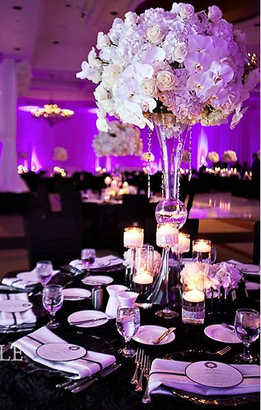 Centerpieces  Elliott Events  White Orchids White Roses Large Flower Ball Centerpiece