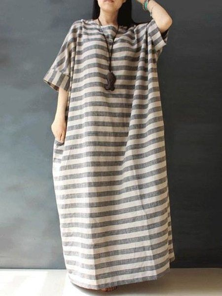 d0fc8b9db2c Shop Linen Dresses - Linen Casual Half Sleeve Linen Dress online. Discover  unique designers fashion at StyleWe.com.
