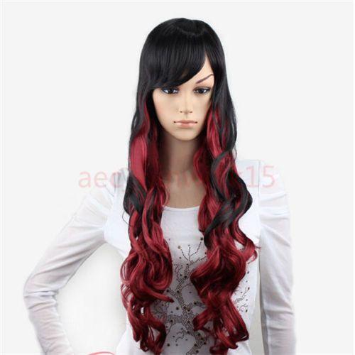 Xiuli 0003149 Fashion Show Черный Микс Красный Длинные Волосы Женщины Леди Волнистые Партия Ср Полные Парики