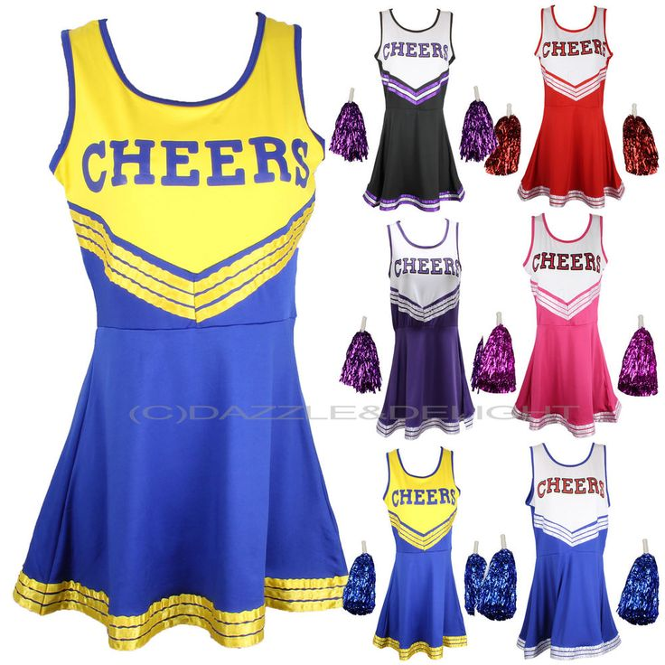 6.99-CHEERLEADER FANCY DRESS OUTFIT UNIFORM HIGH SCHOOL MUSICAL COSTUME WITH POM POMS